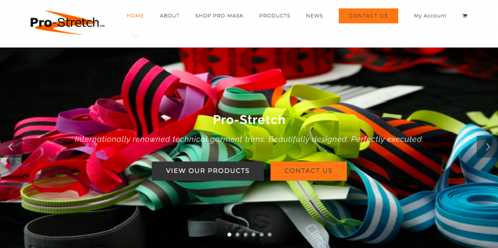Screenshot depicting customer Pro-Stretch's website with a white menu head and orange and black logo with a header image of colourful fabric trims.